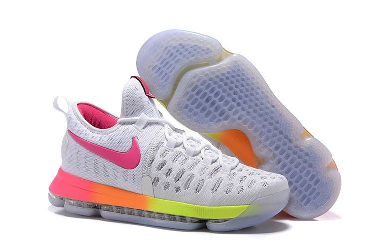 reputable site bff0c feaae Kevin Durant KD 9 IX Flyknit White Pink Fire Volt Laser Orange Think Pink  Shoes 2016