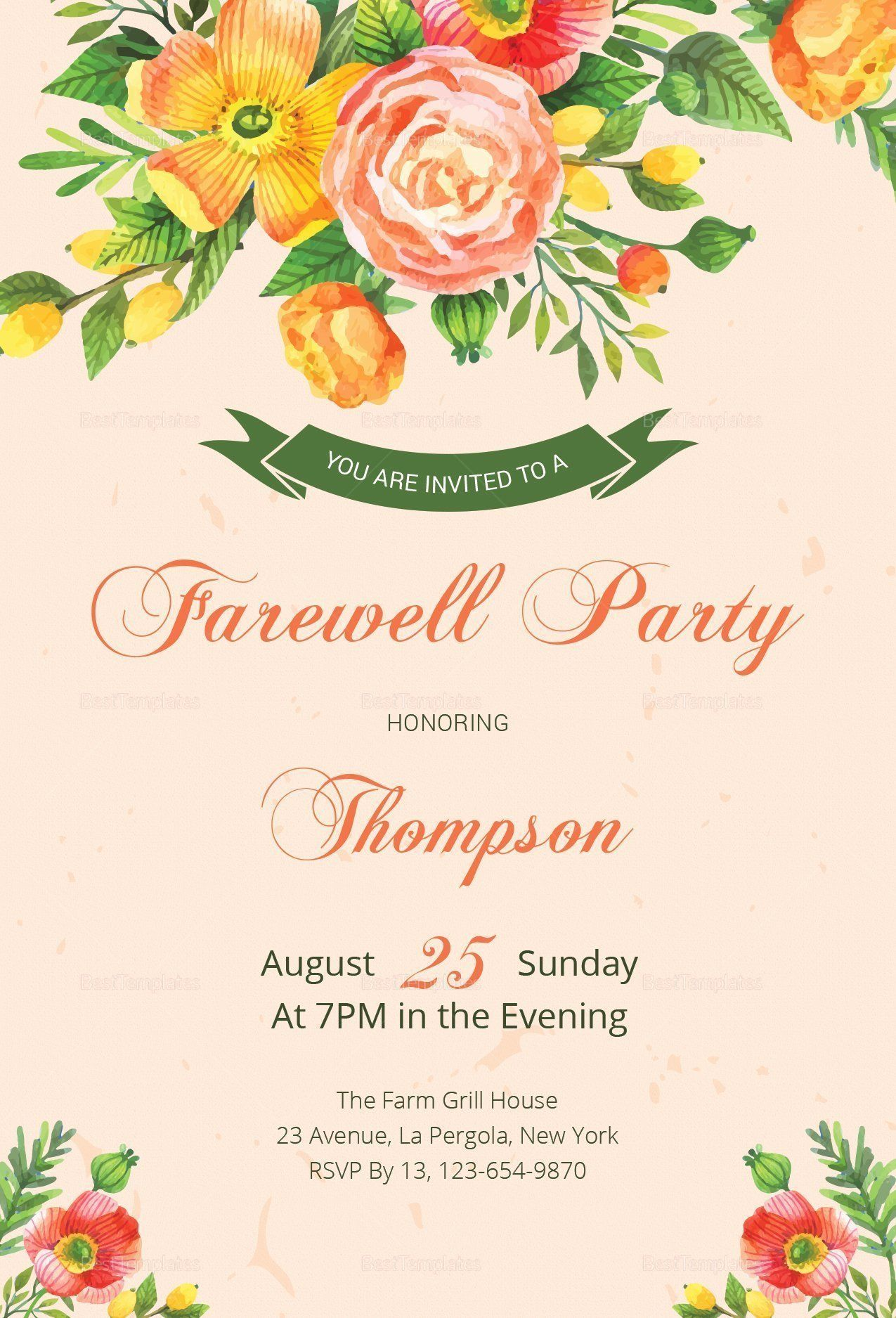 Farewell Party Invitation Template Luxury Floral Farewell Party