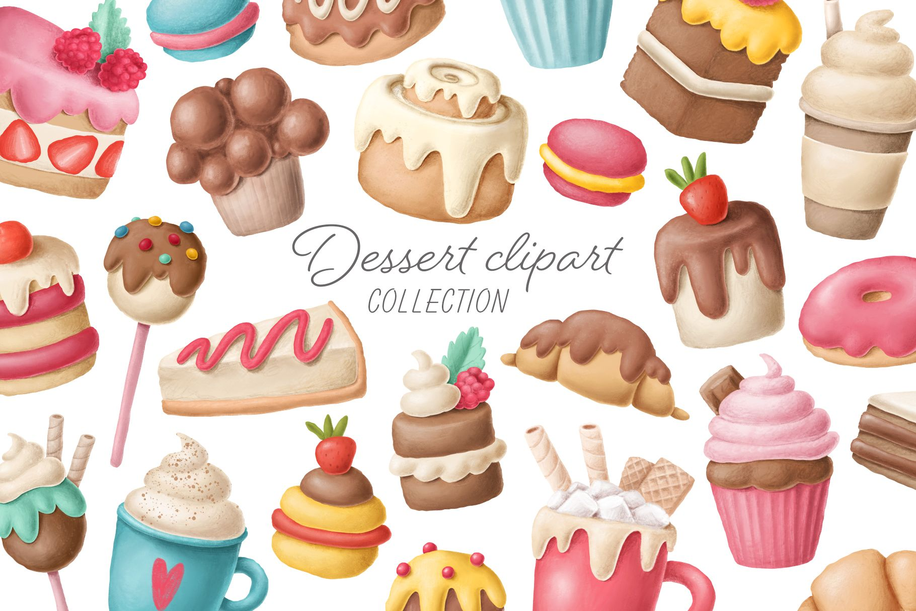 Hand drawn dessert collection perfect for creating