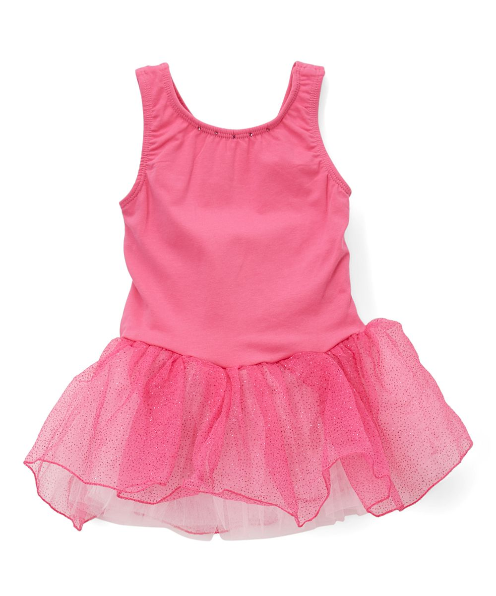 Fuchsia Heart-Accent Leotard Dress - Toddler & Girls