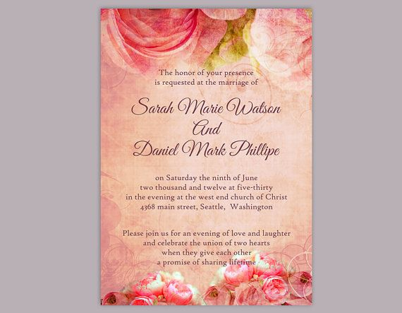 DIY Rustic Wedding Invitation Template Editable Word File Download - vintage invitation template