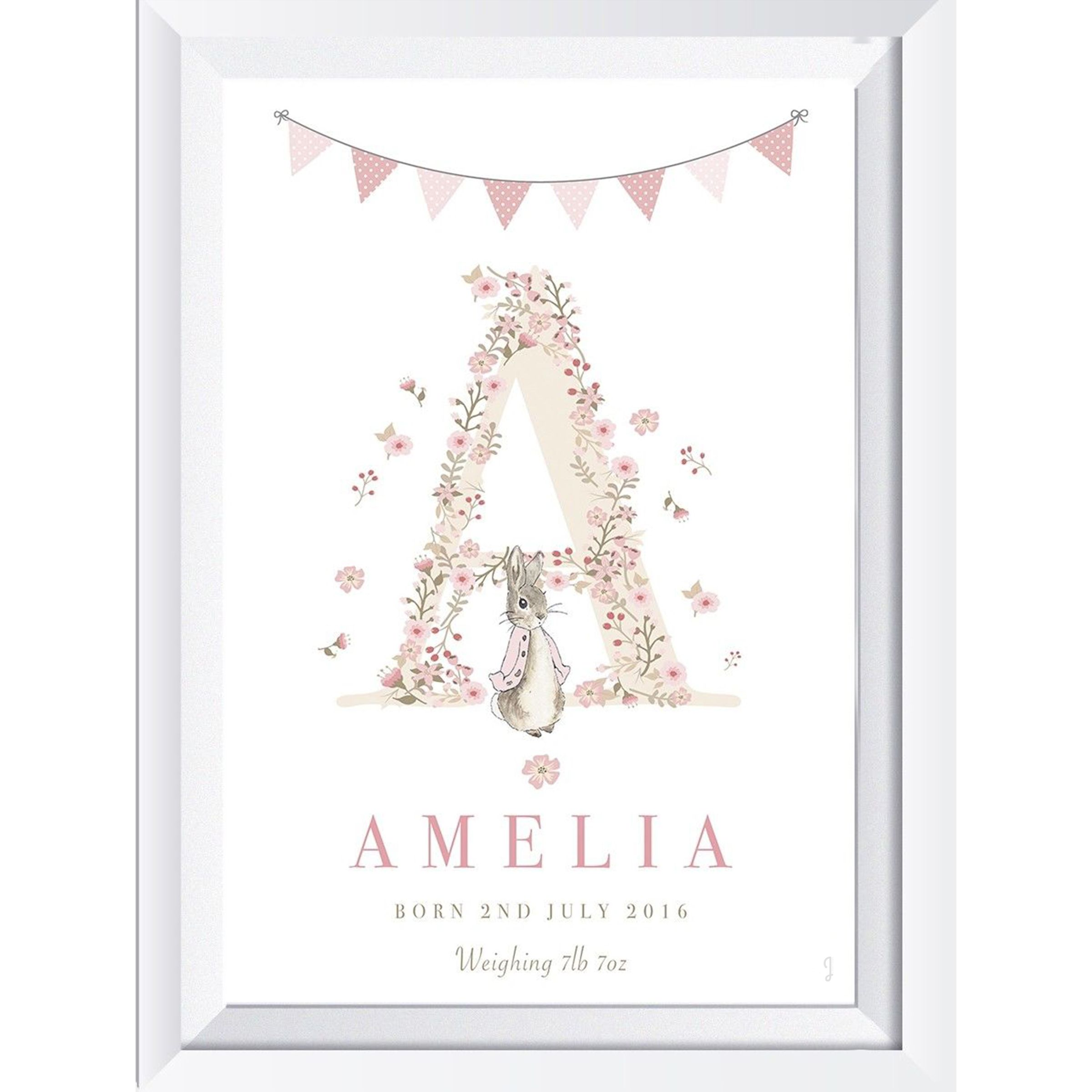 Personalised A4 Floral Letter Peter Rabbit Name Print