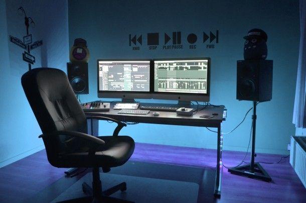 full mac setup of a professional dj and music producer office setups home studio music. Black Bedroom Furniture Sets. Home Design Ideas