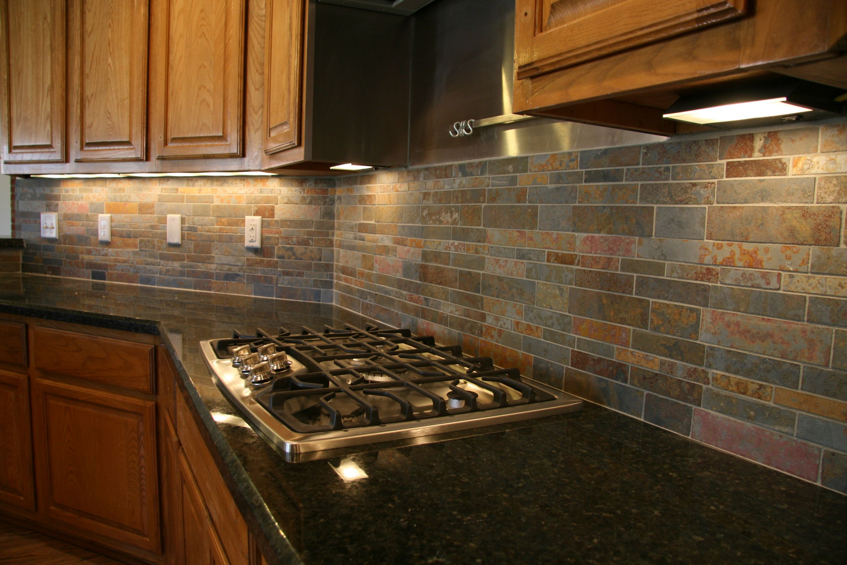 Pin by Chesterly ONeal on Home   Black granite countertops ... on Backsplash For Black Granite Countertops And Brown Cabinets  id=87084