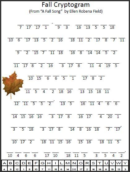 Printable Large Print Cryptograms | Empowered By THEM: Fall