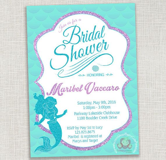 disney mermaid bridal shower invitation by berrycuteprintables