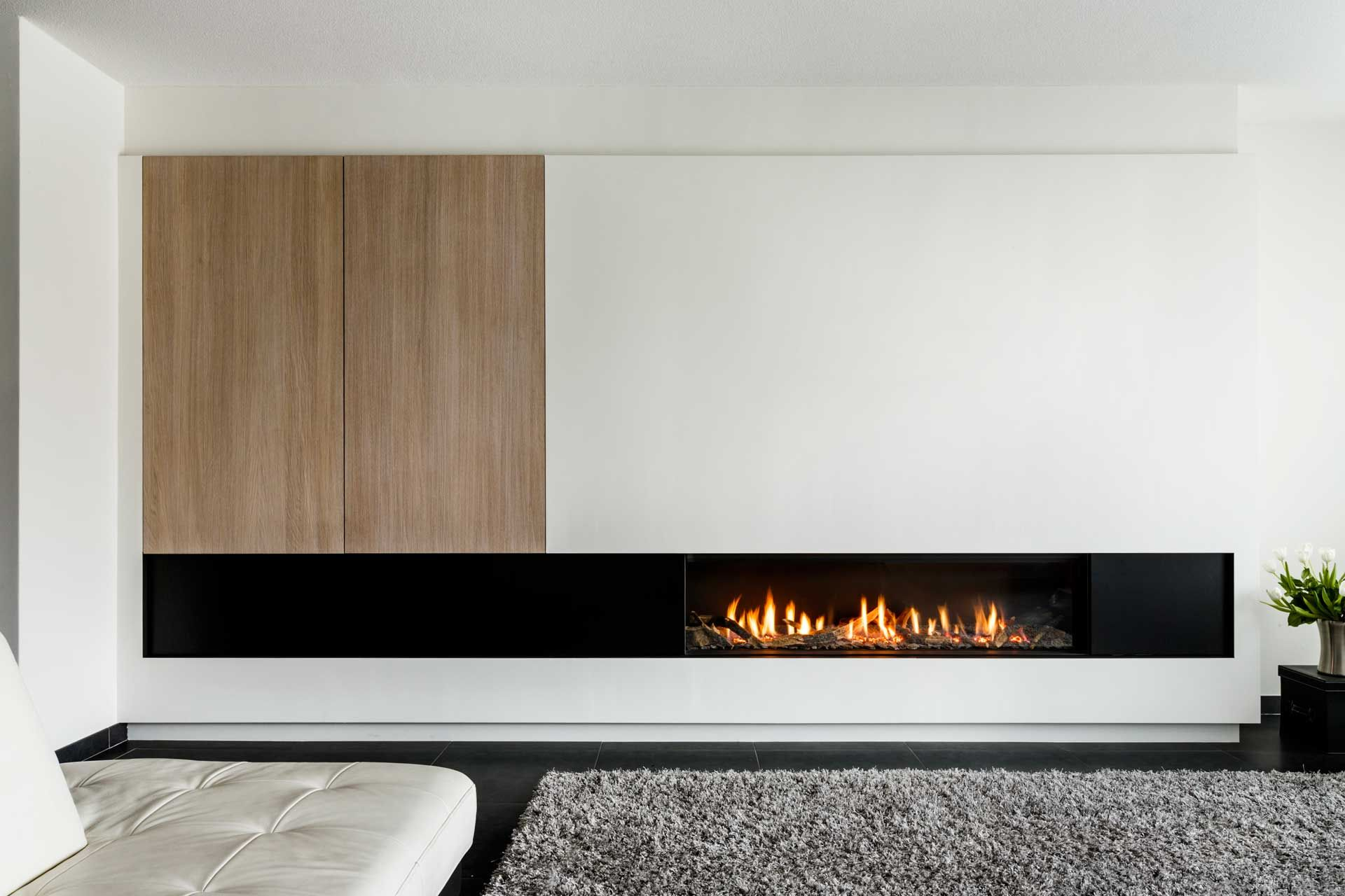 linear fireplace with mixed materials