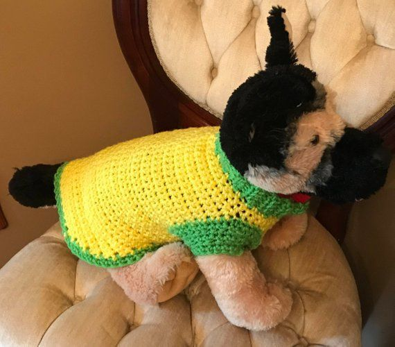 Yellow and Green Small Dog Crochet Sweater #dogcrochetedsweaters Yellow and Green Small Dog Crochet Sweater #dogcrochetedsweaters