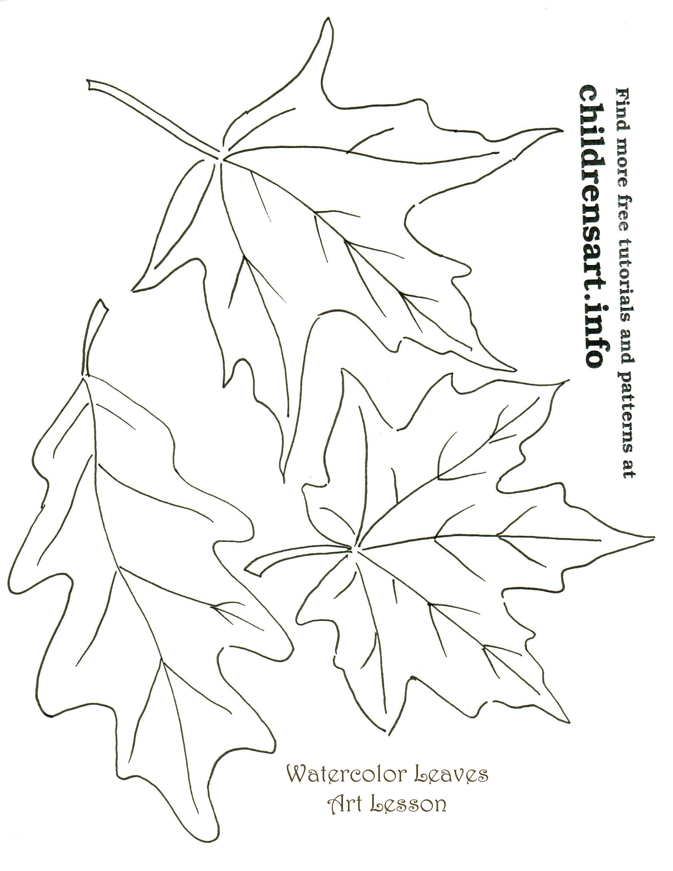 Autumn Leaves Watercolor Art Tutorial Templates | coloring pages ...