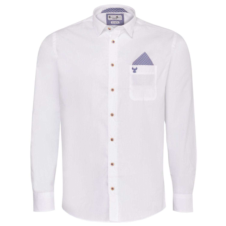 Trachtenhemd Body Fit Edi zweifarbig in Weiß und Grün von Gweih und Silk