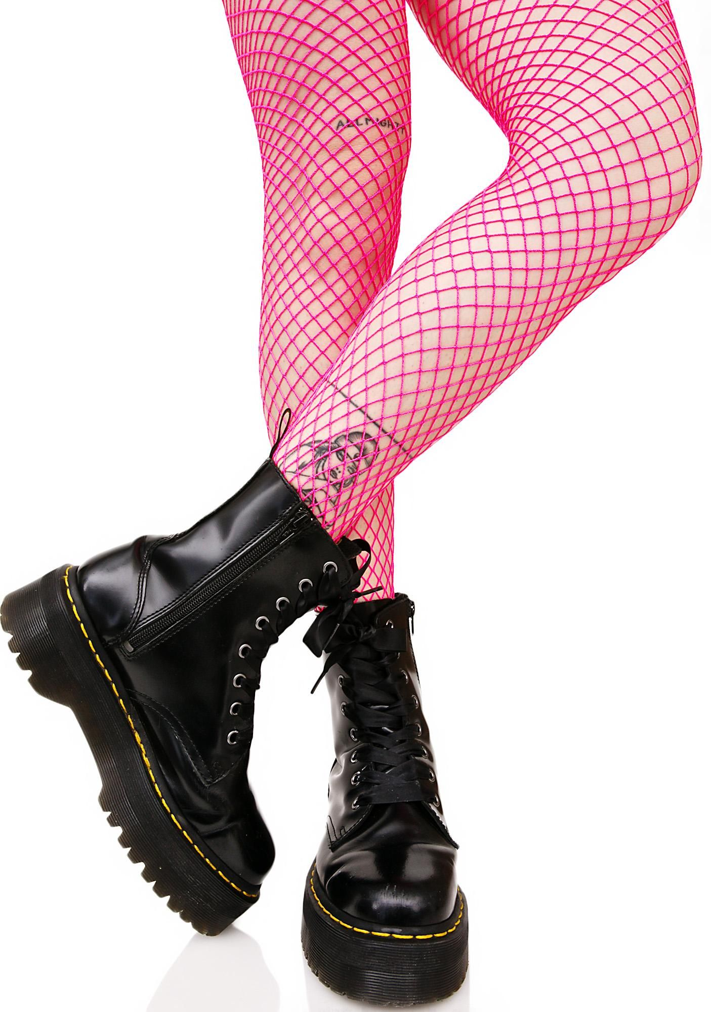 Bold Move Fishnet Tights cuz yew ain't no boring b*tch, bb. Stand out from the crowd in these neon pink fishnet tights that feature a stretchy nylon construction that hugz yer curvez.