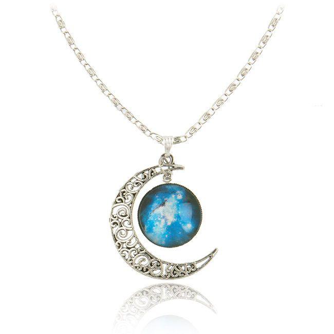 Fashion Women Galactic Glass Cabochon Pendant Silver-Tone Crescent Moon Necklace