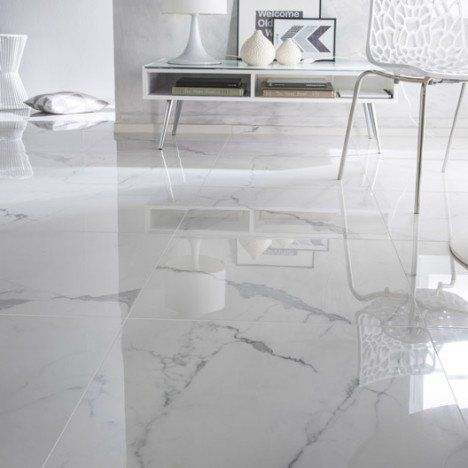 Carrelage sol et mur blanc effet marbre rimini x for Carrelage sol interieur blanc