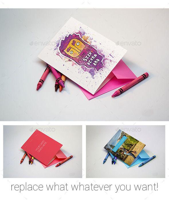Greeting card with crayons mockup mockup font logo and flyer template greeting card with crayons mockup m4hsunfo