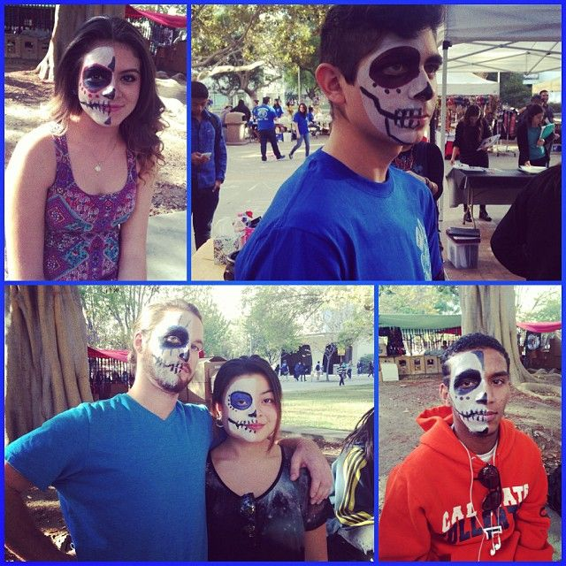 Some of the people I face-painted today emojiemoji #csuf #facepainting #volunteering #art #madenewfriends #collegelife #3hours #mariachi #diadelosmuertos by Zavala_svt