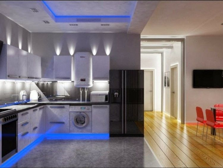 Cocina con luces led de color azul arquitectura - Luces led para cocinas ...