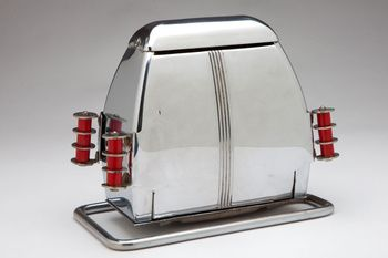 Rare Art Deco Chrome And Red Bakelite Trim Toaster Made In The By Superior Electric Product Corp I Remember This Style