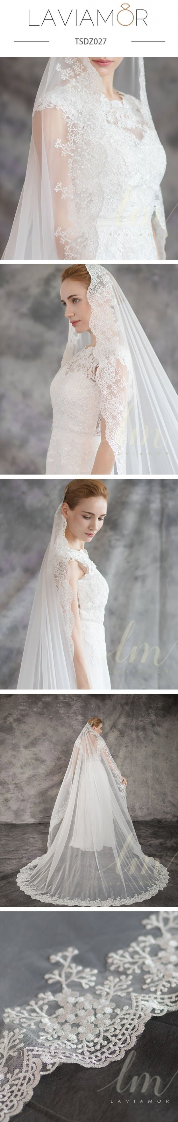 Laviamor Specializes In Customizing The Bridal Veils Follow Laviamordesign For More Ideas In 2020 Lace Cathedral Veil Blusher Veil Wedding Hairstyles With Veil