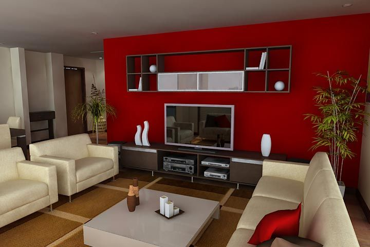 sala comedor con detalles rojos  Diseo Interiores en