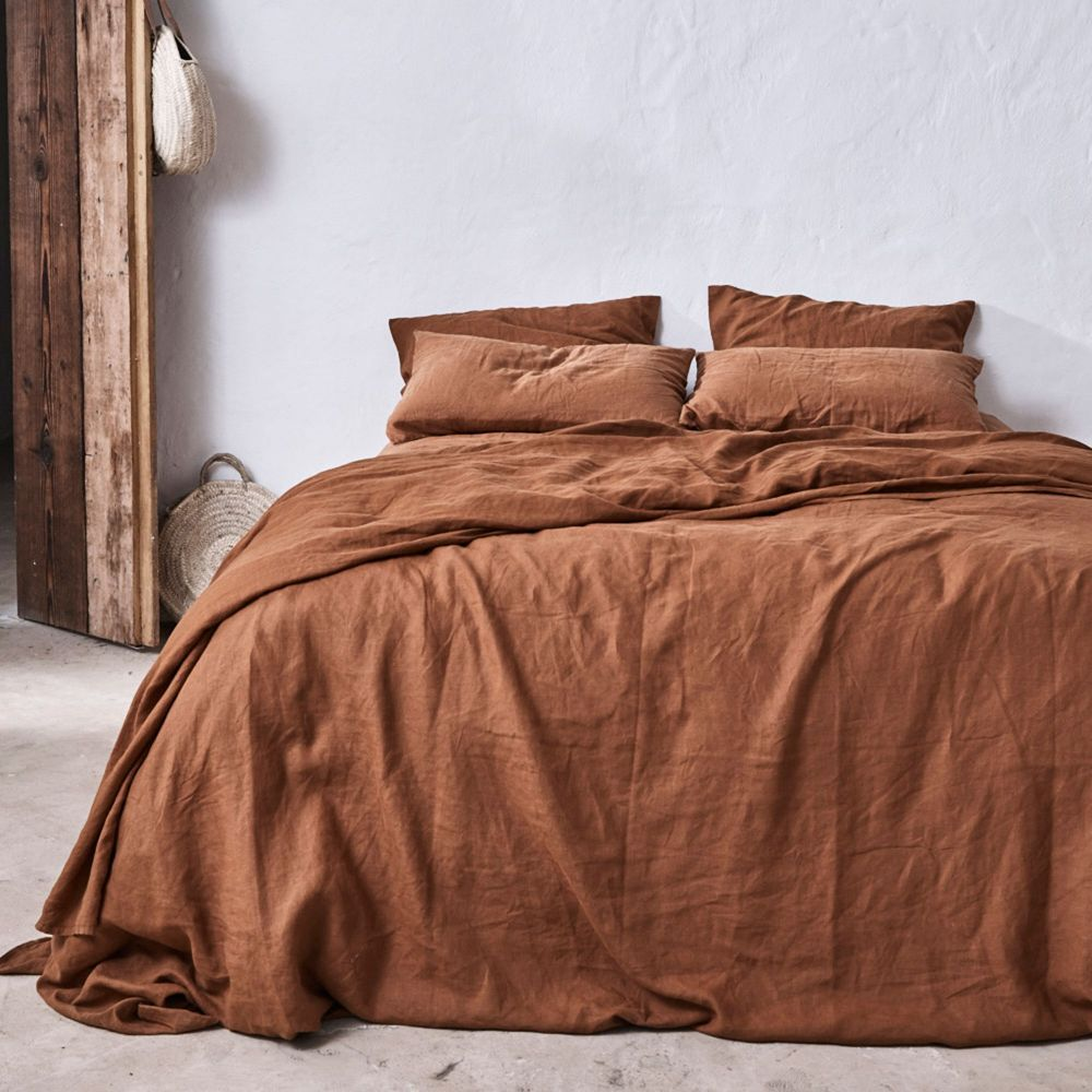 100 Linen Duvet Set In Tobacco Bed Linens Luxury Duvet Bedding