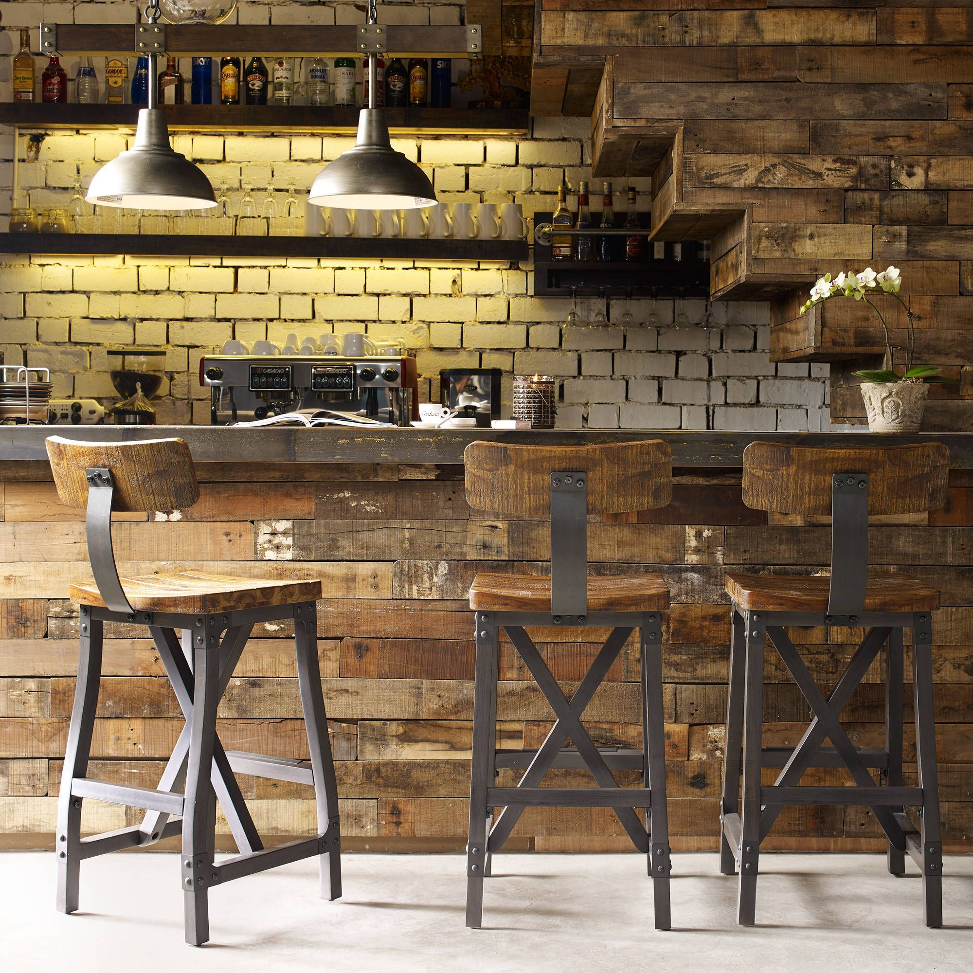 Carbon loft magie amber and graphite barstool with back