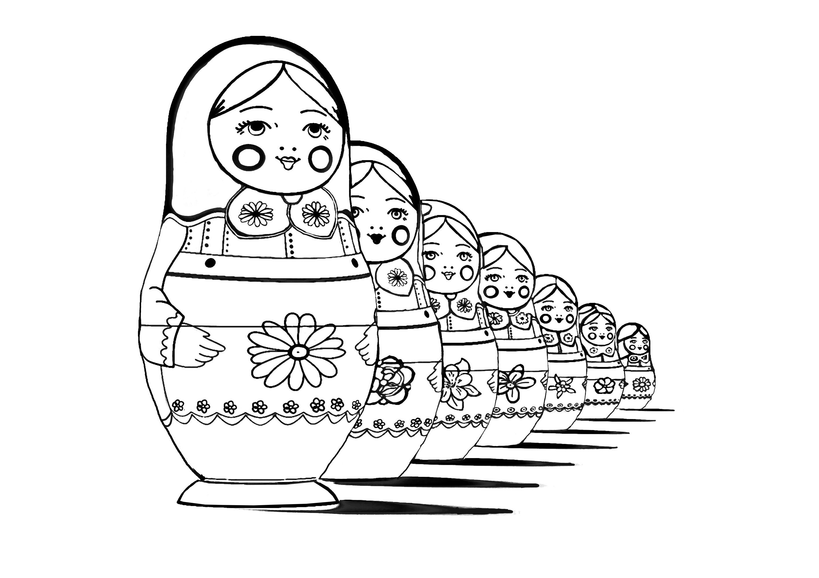 Coloring Page Adult Russian Dolls Perspective Free To Print