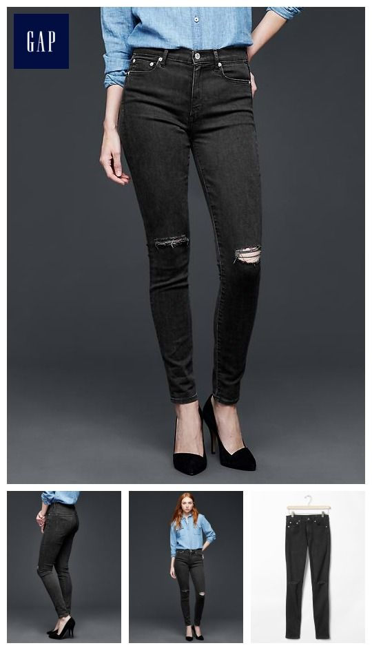 Gap black high rise skinny jeans
