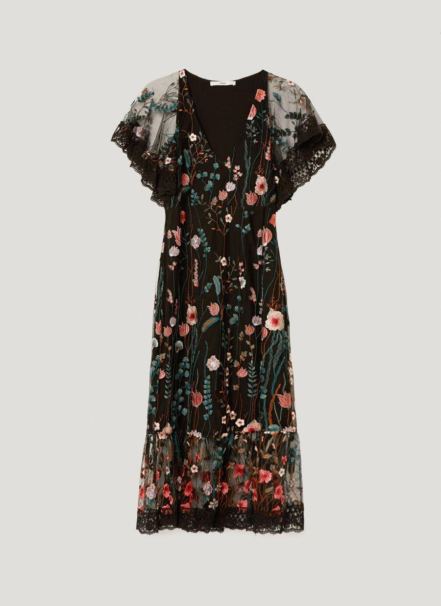 Vestido bordado flores - Vestidos y faldas - Colección - Uterqüe España 53fe16e25aa