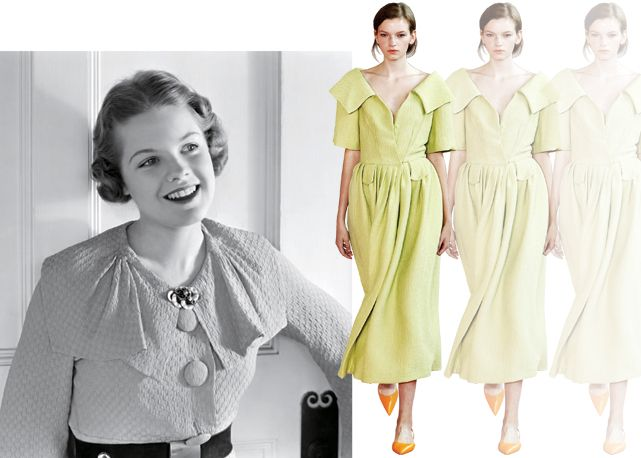 1930 – A moda nos anos 1930, com botões forrados de tecido e broche no decote. Desfile da Emilia Wickstead, verão 2016 –