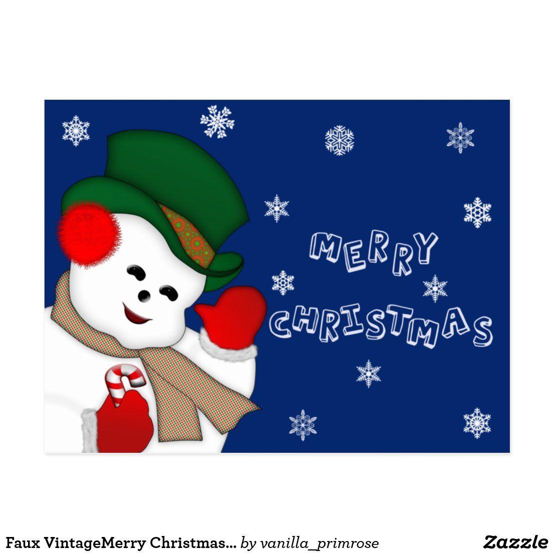 Faux VintageMerry Christmas Snowman Postcard #postcards #christmas #merrychristmas