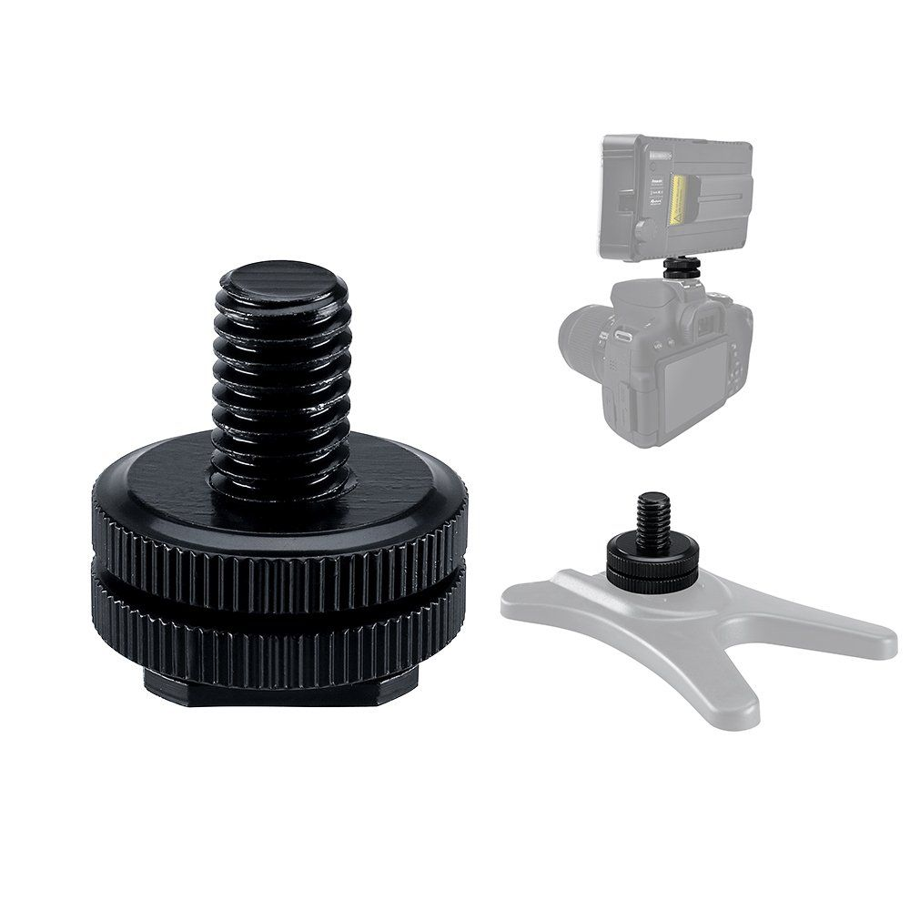 Hot Shoe Mount Adapter 3//8 Flash Shoe Mount w//Double Nuts to Camera Tripod Screw Converter for DSLR Camera Rig Monitor LED Video Light 4 Pack