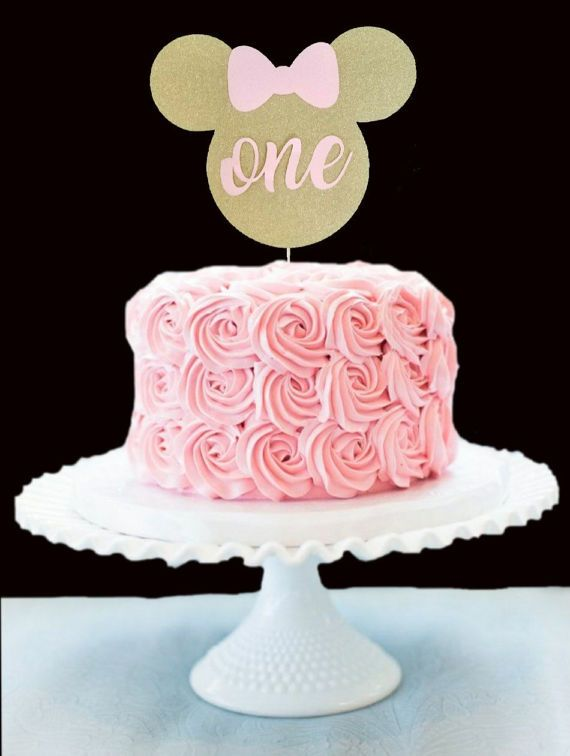 Minnie Mouse Birthda Cake Topper Gold And Pink Birthday 1st Bday