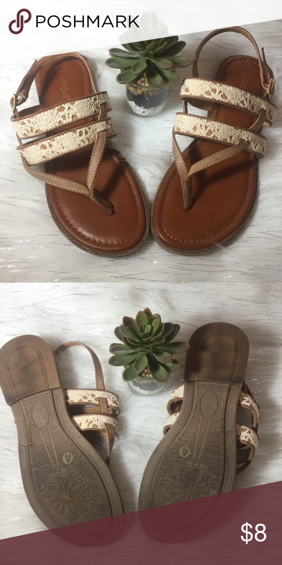 486b42e82e21 Cat and jack tan and cream sandals size 4 Cat and jack tan and cream sandals  size 4 Cat   Jack Shoes Sandals   Flip Flops