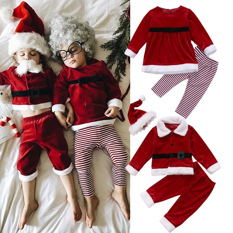 Baby Kids Girl Boy Outfit Christmas Santa Claus T-shirt Tops+Pants Clothes Set