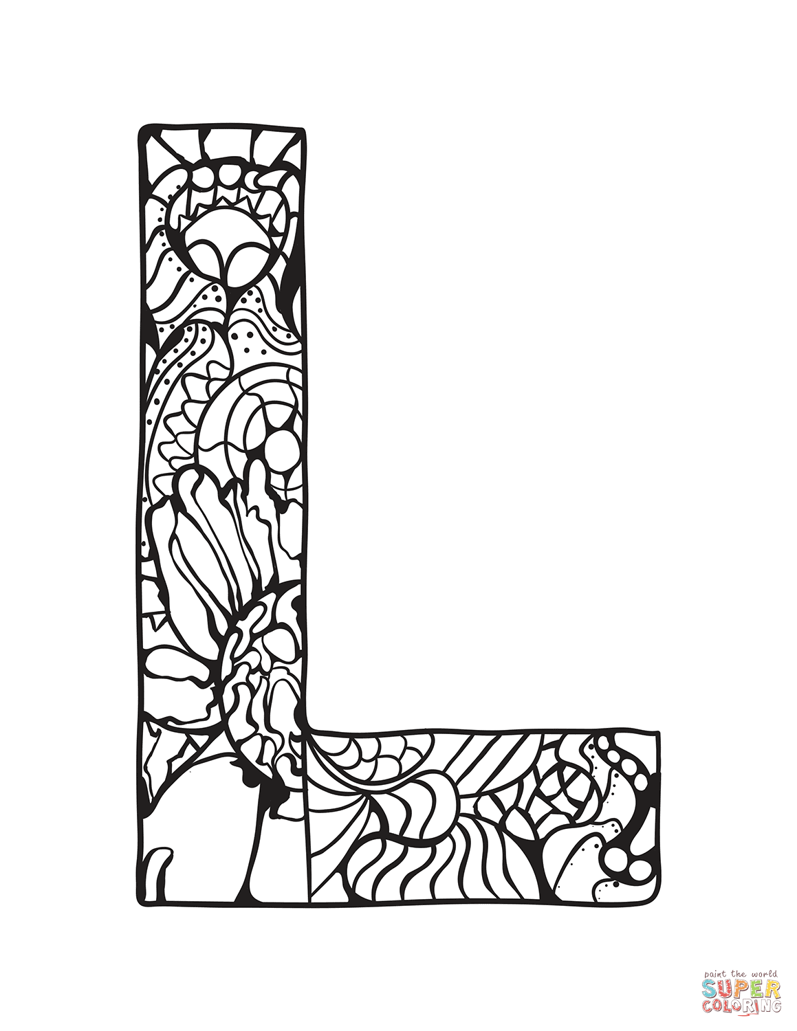 Letter L Zentangle Coloring Page Free Printable Coloring Pages Coloring Letters Free Printable Coloring Pages Coloring Pages