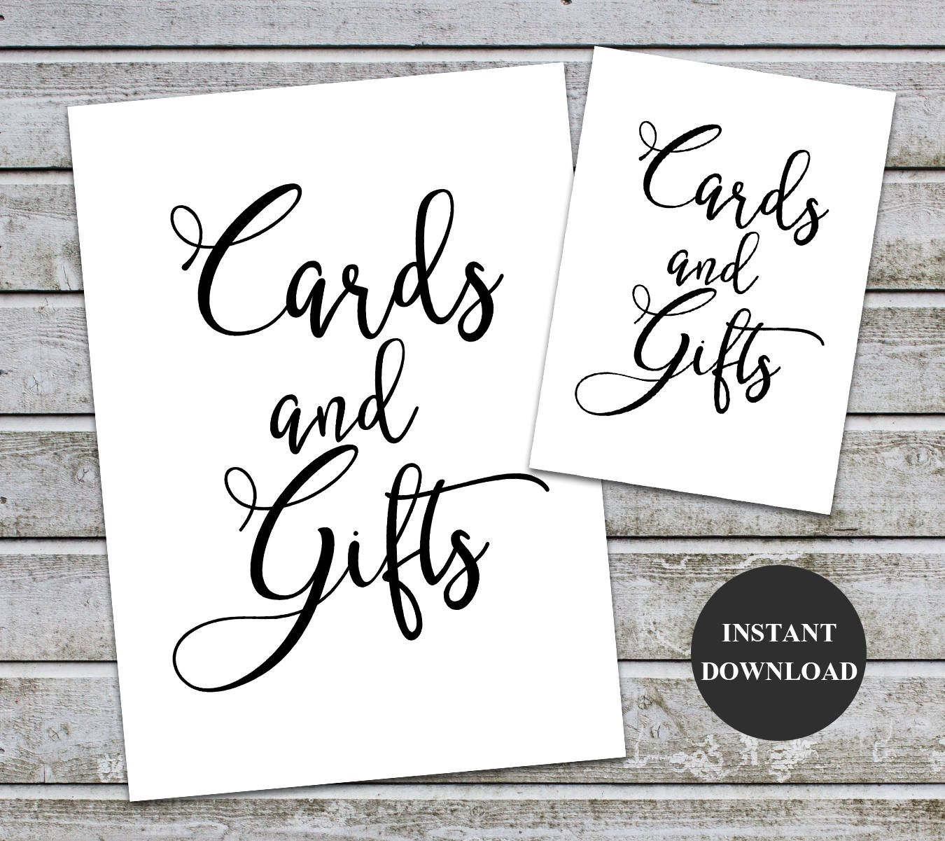 Cards and gifts signs printable wedding baby shower decor