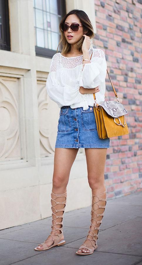 dc44d32e8f3 How to wear knee-high gladiator sandals - with an A-line denim mini and  white blouse