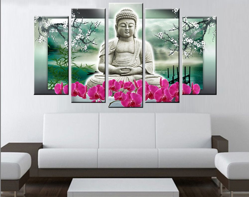 5 Panels Buddha Wall Art Modern Buddha Painting Hand Made ...