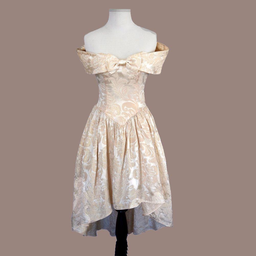 Vintage s mini dress prom pink gold brocade jessica mcclintock