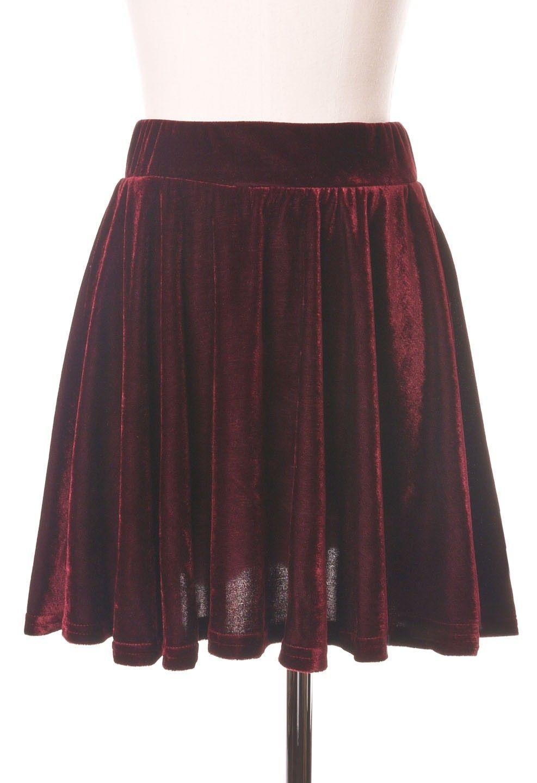 Pleated Velvet High Waist Skirt