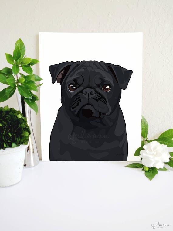 Black Pug Art Print, Pug Dog Art, Pug Decor, Pug Wall Art
