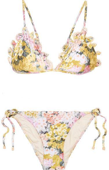 f7427568869 Zimmermann   A Shore Thing   Floral swimsuit, Floral bikini, Ruffle ...