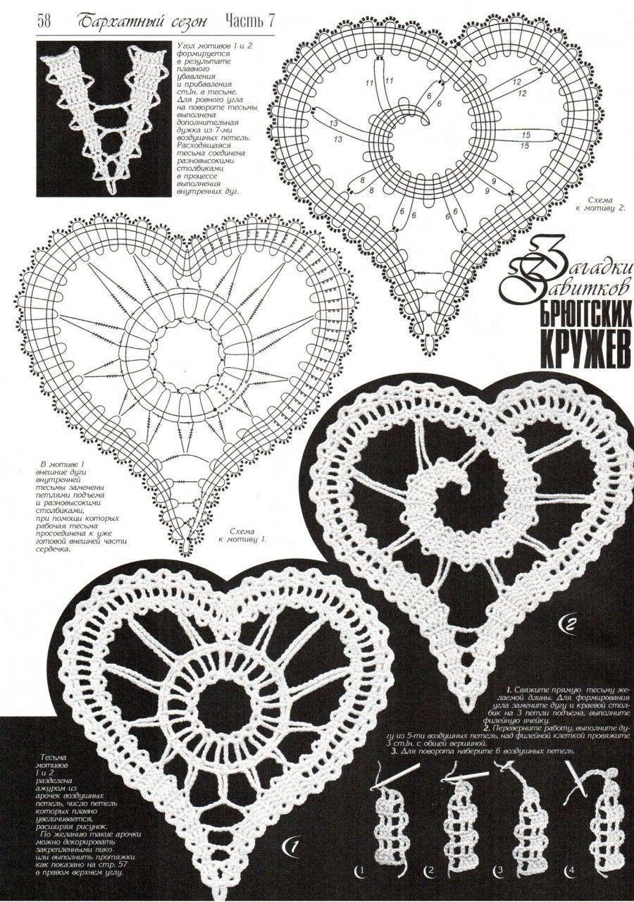 Abuvhphy Koronki Brugijskie Pinterest Crochet Motif Heart Shape Pattern Diagram Irish Motifs Russian Bobbin Lace Like Patterns