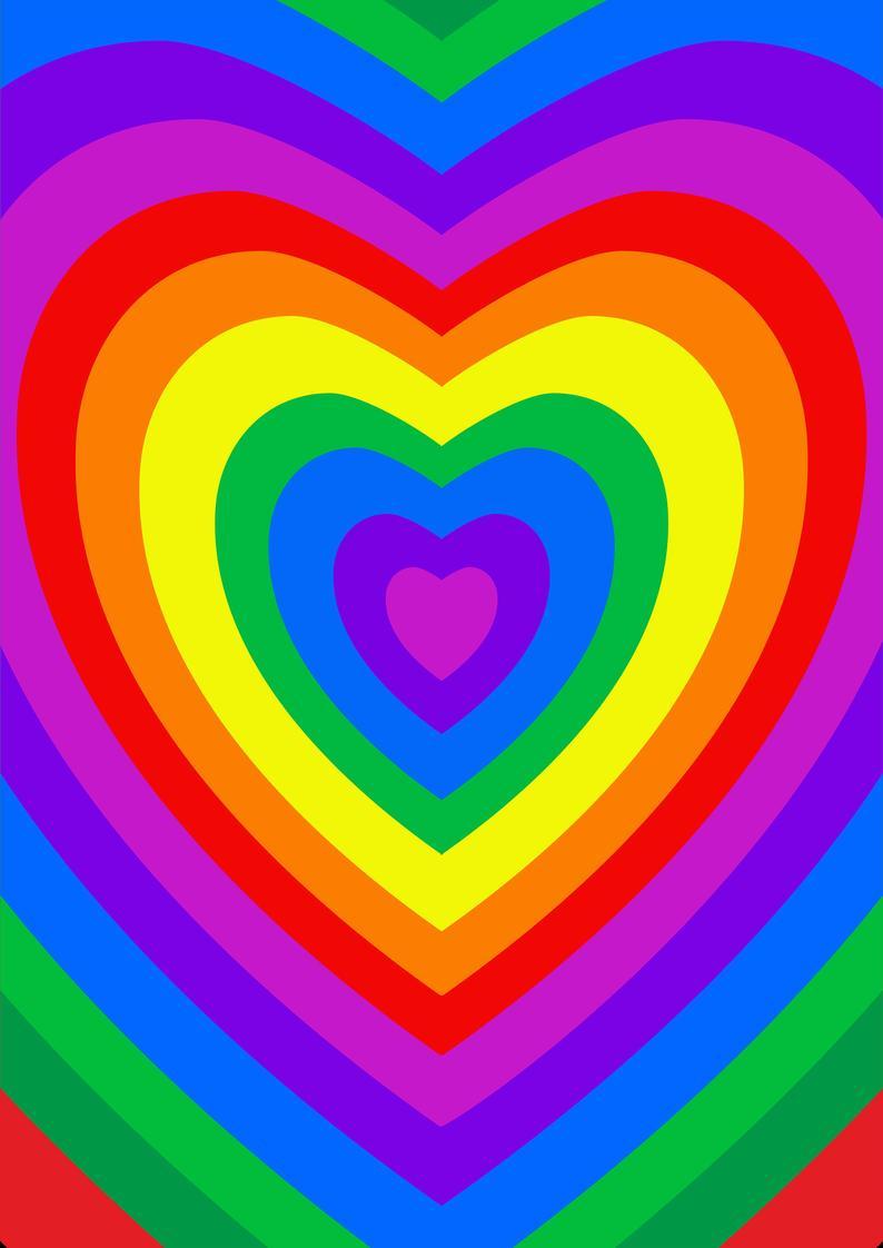 Rainbow Heart Hippie Wall Art Etsy Hippie Wall Art Hippie Wallpaper Picture Collage Wall