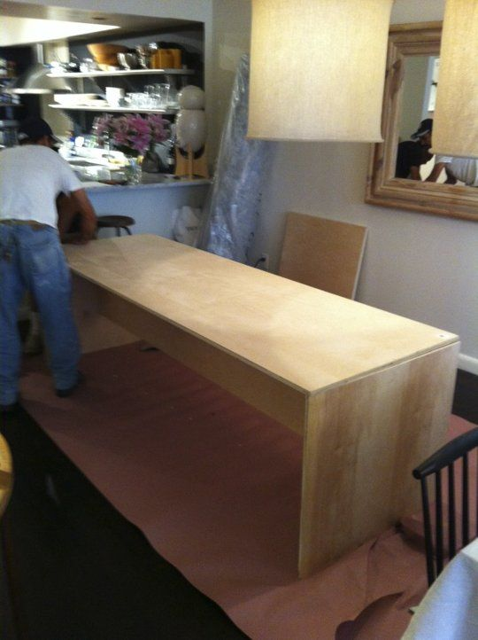 Diy home decor how to make a simple modern table craft for Diy plywood dresser