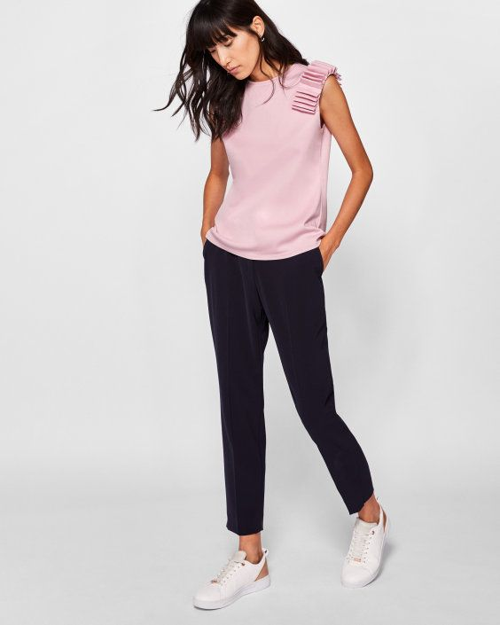 4cdd453e2a6f Sculpted shoulder top - Pink   Tops and T-shirts   Ted Baker UK ...