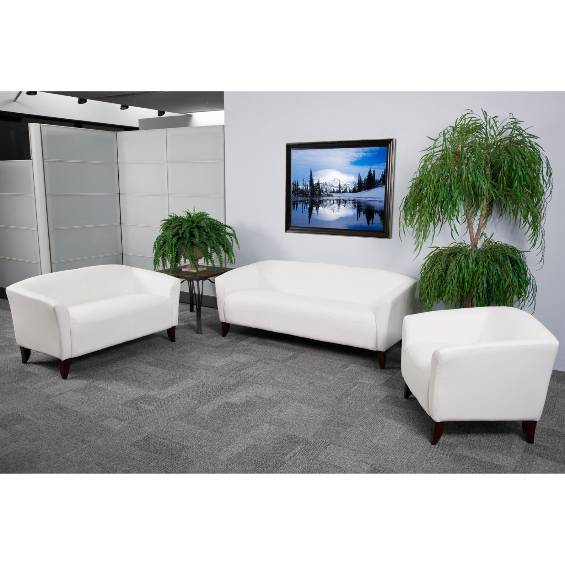 Flash Furniture Hercules Imperial Series 3 Piece Leather Reception ...