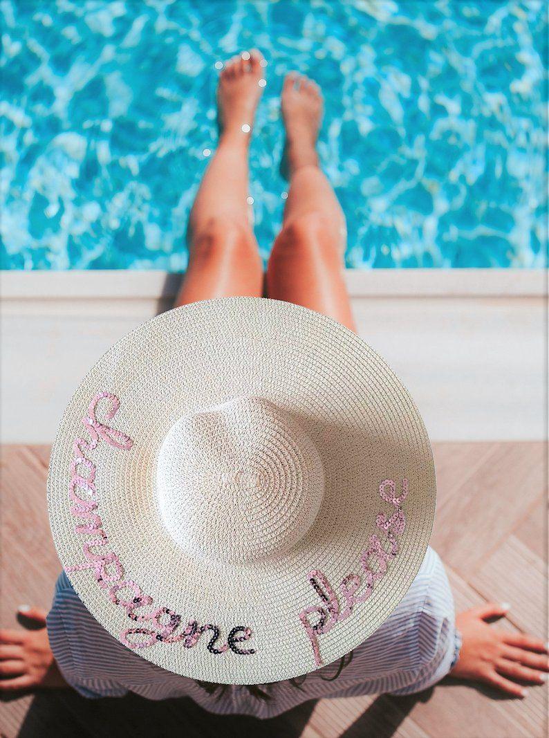 07680c32 Champagne Please Hat | Personalized Sun Hat | Bachelorette Party Gift Idea