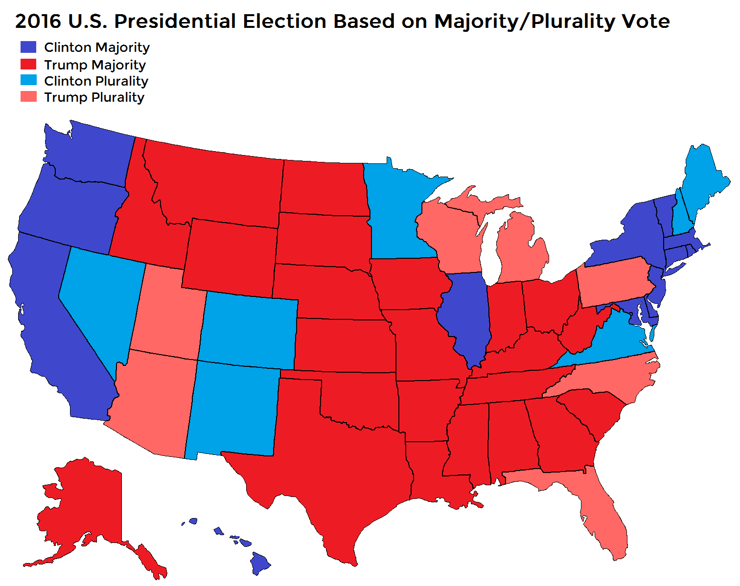 Us Electoral Map Based On Majority Plurality Vote