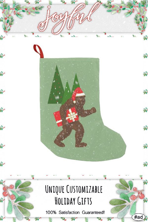 """""""Christmas with Bigfoot"""" Small Christmas Stocking - tap/click to get yours right now! #SmallChristmasStocking #ad #christmas #bigfoot #sasquatch #squatch"""